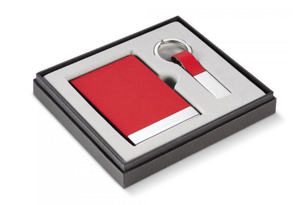PHILIPPI Бизнес подарък от 2 части ( ключодържател + визитник ) - червен